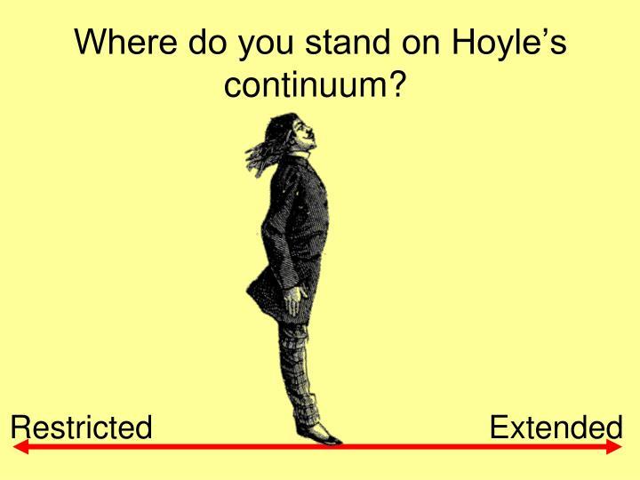 Where do you stand on Hoyle's continuum?
