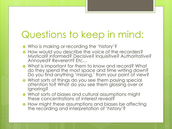Questions to keep in mind: