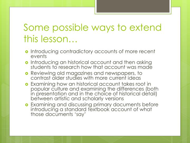 Some possible ways to extend this lesson…