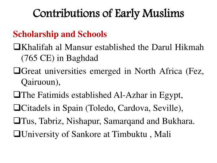 Contributions of Early Muslims