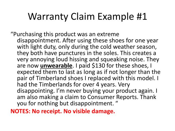 Warranty Claim Example #1