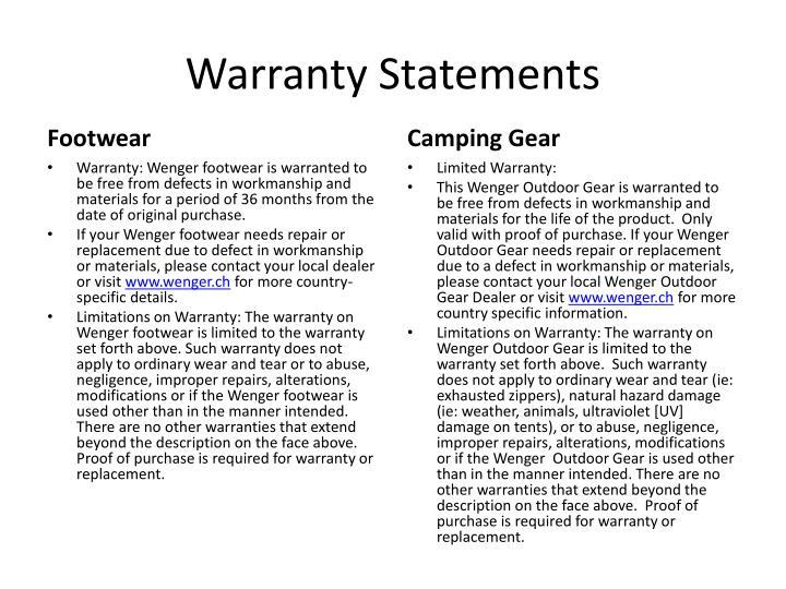 Warranty statements