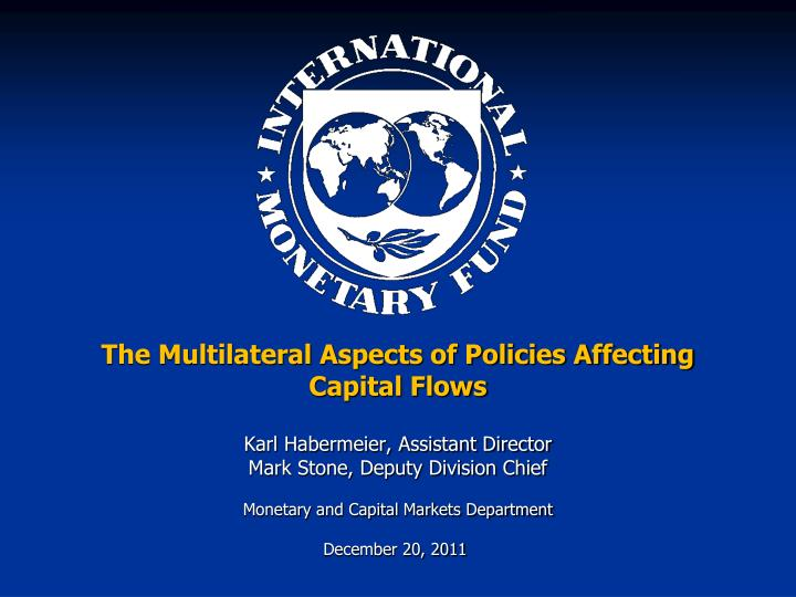 the multilateral aspects of policies affecting capital flows n.