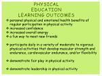 physical education learning outcomes