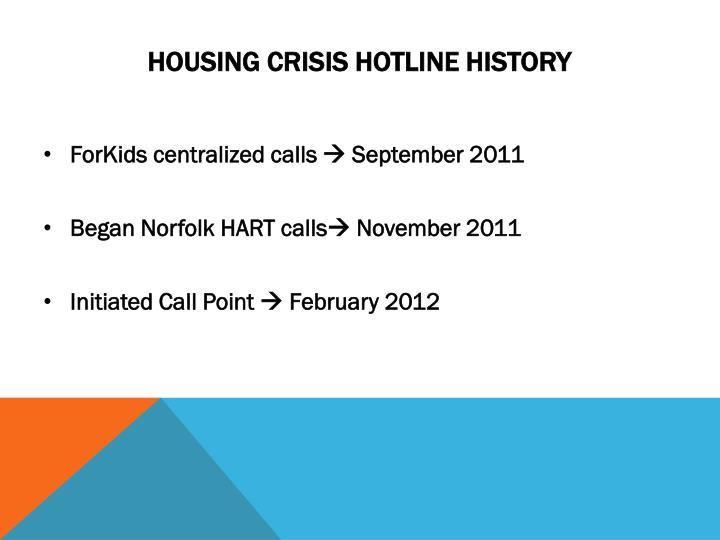 Housing Crisis Hotline History