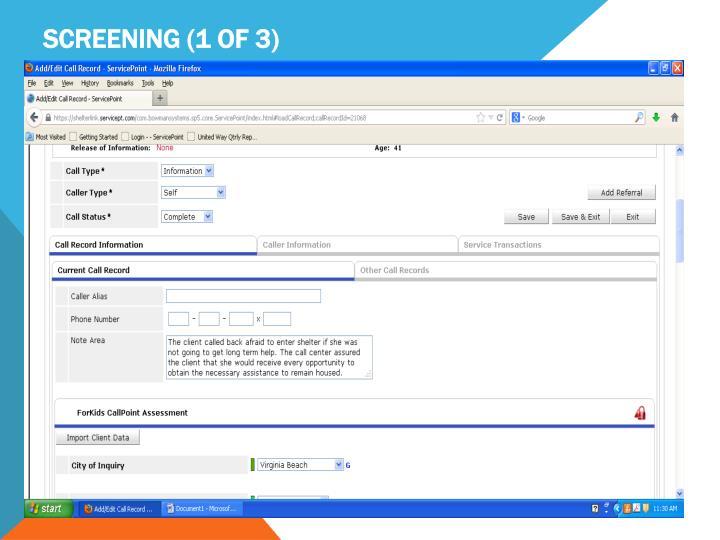 Screening (1 of 3)