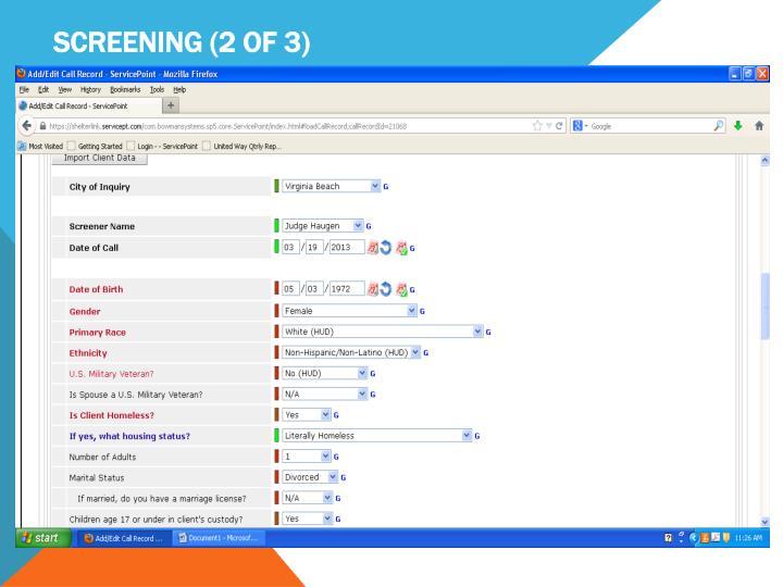 Screening (2 of 3)