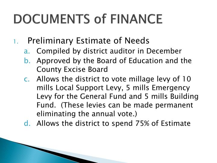 DOCUMENTS of FINANCE