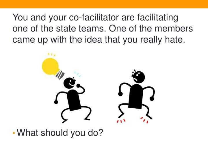 You and your co-facilitator are facilitating one of the state teams. One of the members came up with the idea that you really hate.