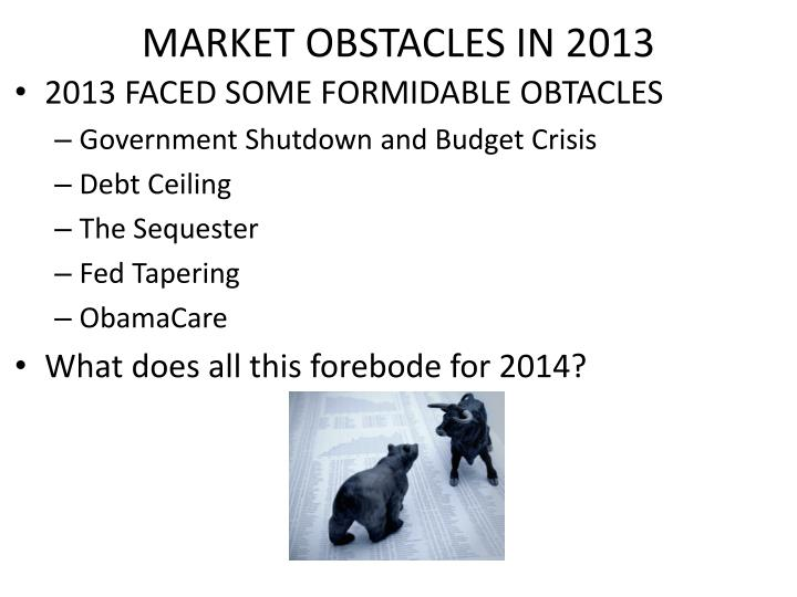 MARKET OBSTACLES IN 2013