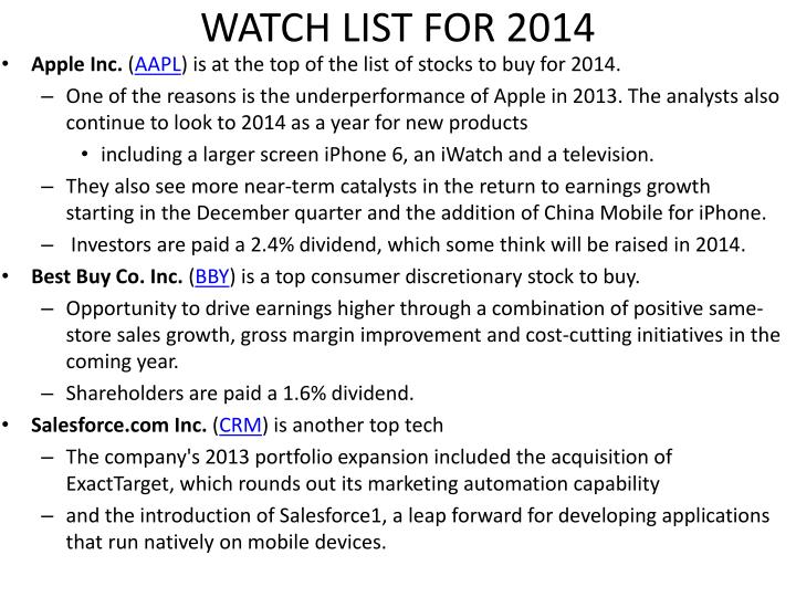 WATCH LIST FOR 2014