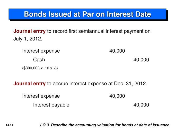 Bonds Issued at Par on Interest Date