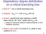 dependency degree distribution on a critical branching tree