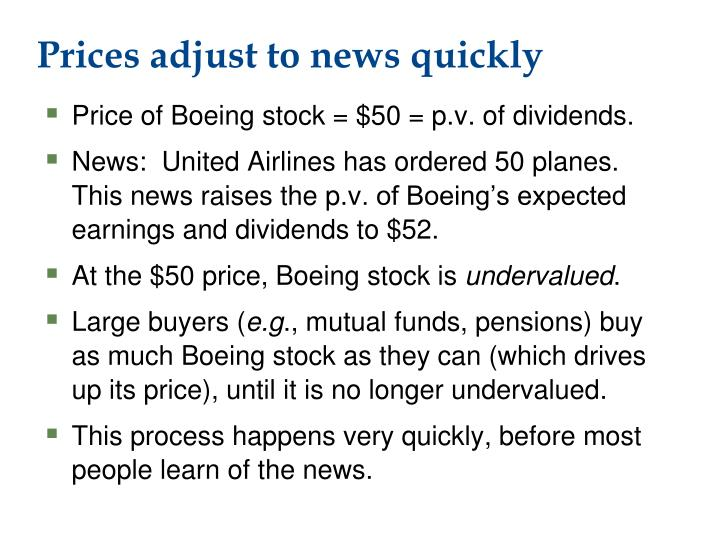 Prices adjust to news quickly
