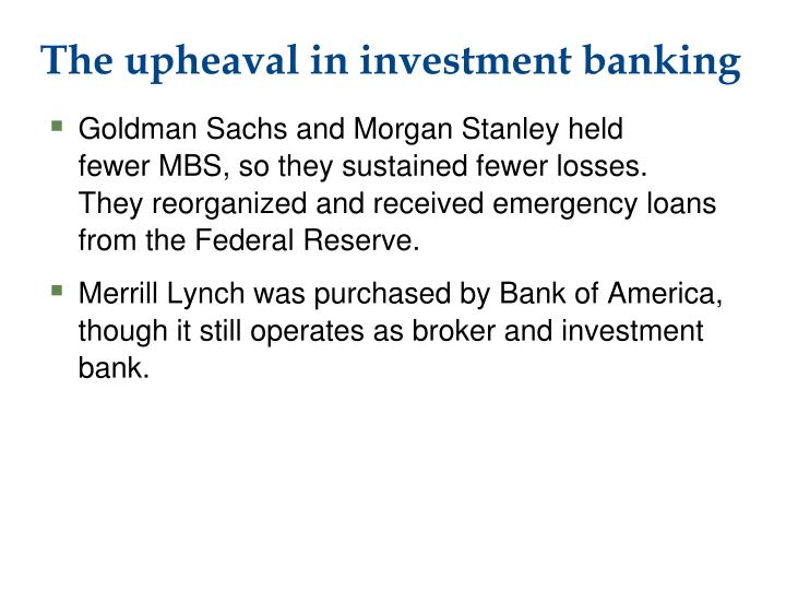 The upheaval in investment banking