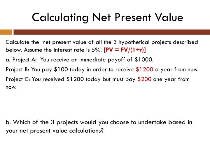 Calculating Net Present Value