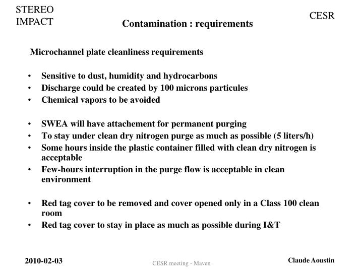 Contamination : requirements
