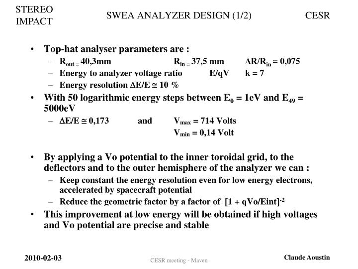 SWEA ANALYZER DESIGN (1/