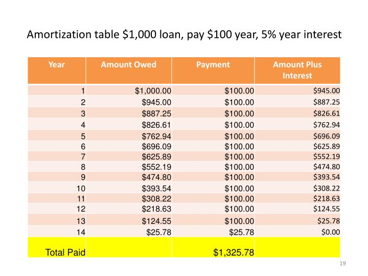 Amortization table $1,000 loan, pay $100 year, 5% year interest