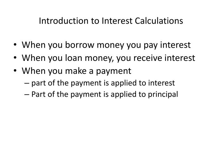 Introduction to Interest Calculations