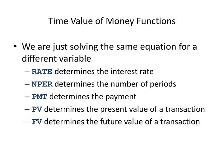 Time Value of Money Functions