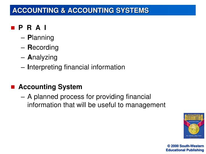 accounting accounting systems n.