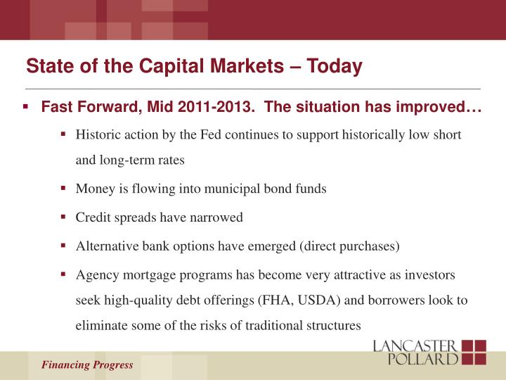 State of the Capital Markets – Today