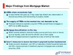 major findings from mortgage market
