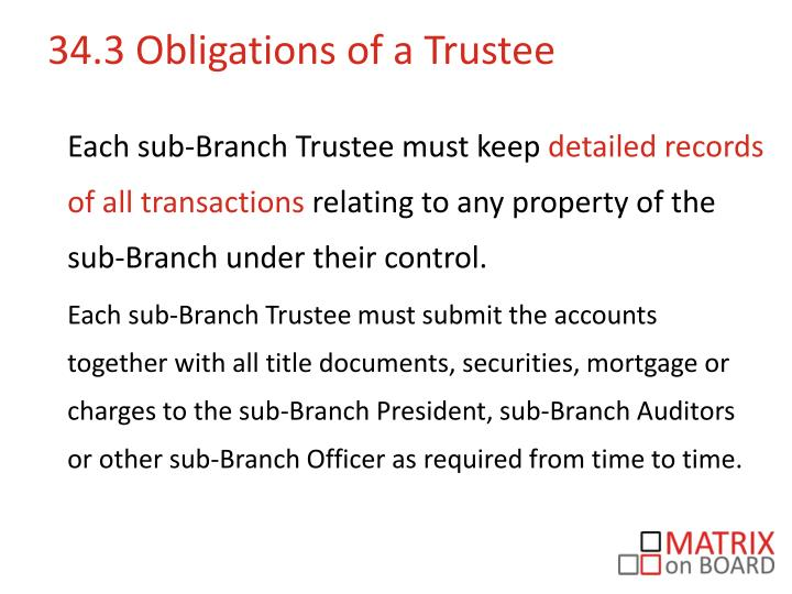 34.3 Obligations of a Trustee