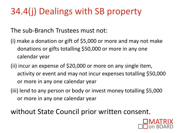 34.4(j) Dealings with SB property