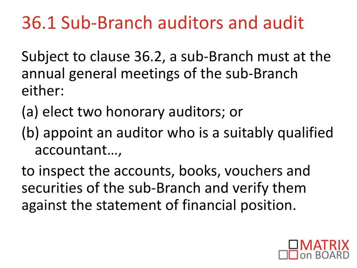 36.1 Sub-Branch auditors and audit