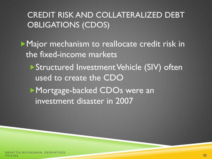 Credit Risk and Collateralized Debt Obligations (CDOs)