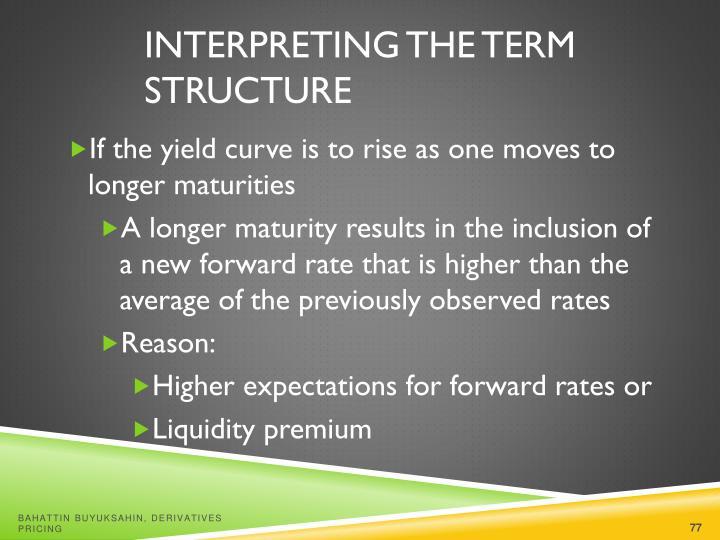 Interpreting the Term Structure