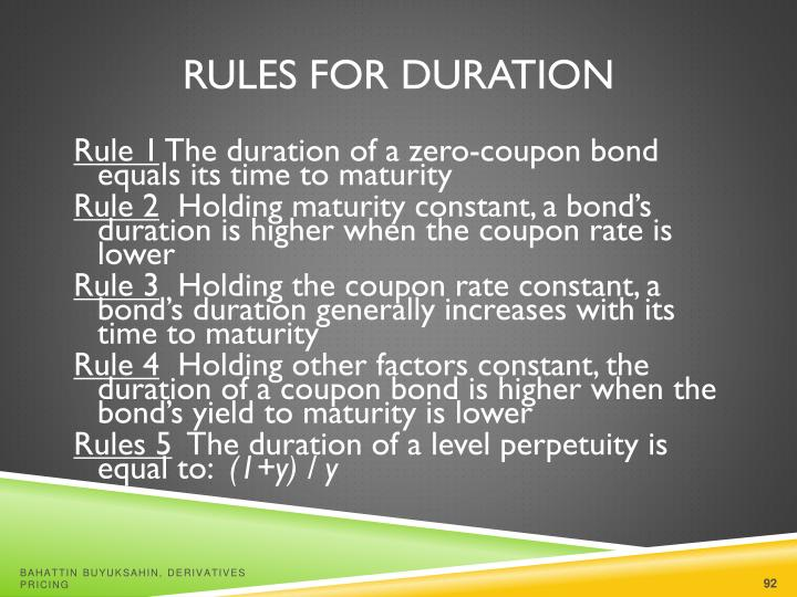 Rules for Duration