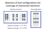selection of test configurations for coverage of interaction elements2