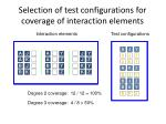 selection of test configurations for coverage of interaction elements3