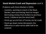 stock market crash and depression cont d