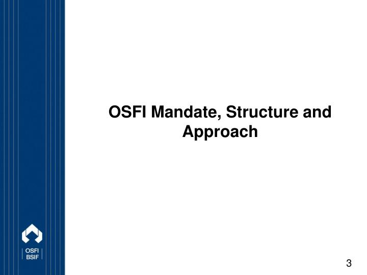 regulation of financial institutions Our role the office of the superintendent of financial institutions (osfi) is an independent federal government agency that regulates and supervises more than 400.