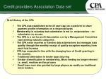 credit providers association data set