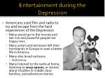 entertainment during the depression