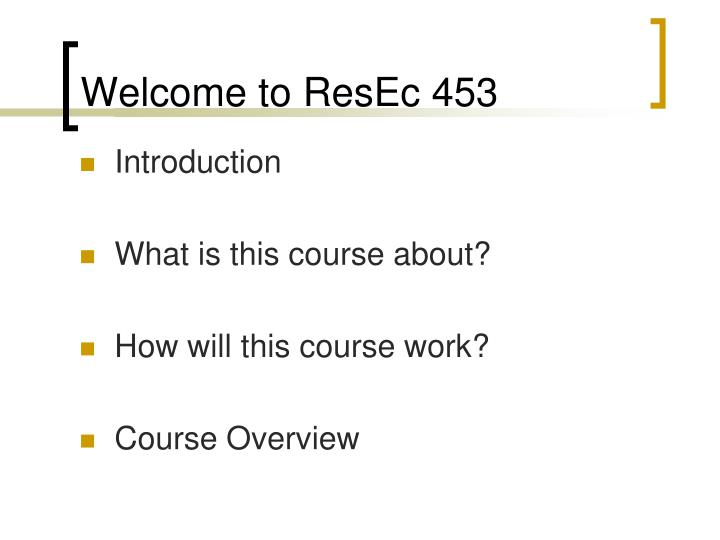 Welcome to resec 453