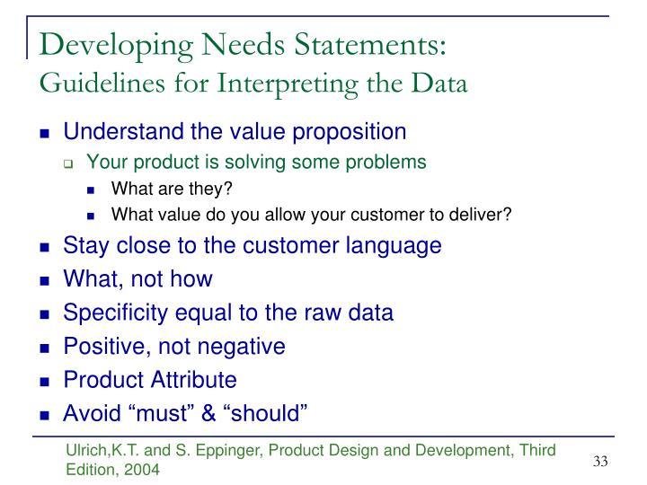 Developing Needs Statements: