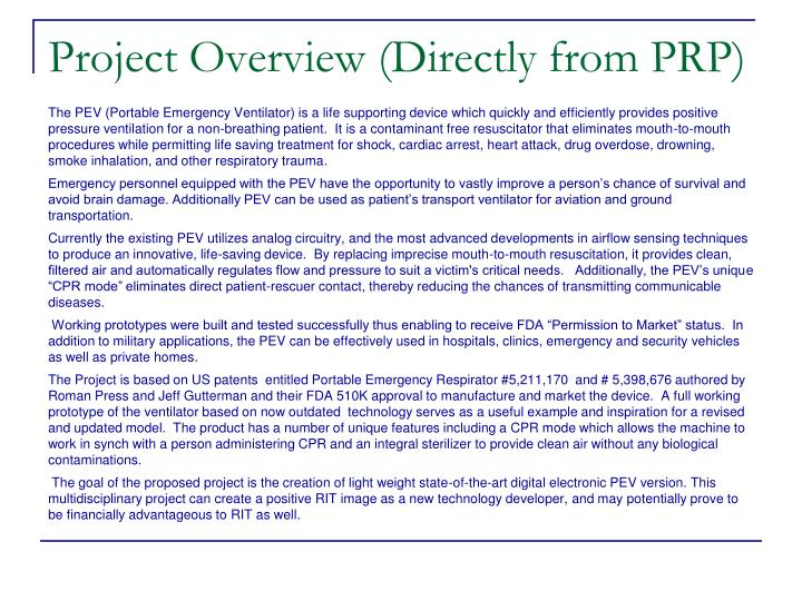 Project Overview (Directly from PRP)