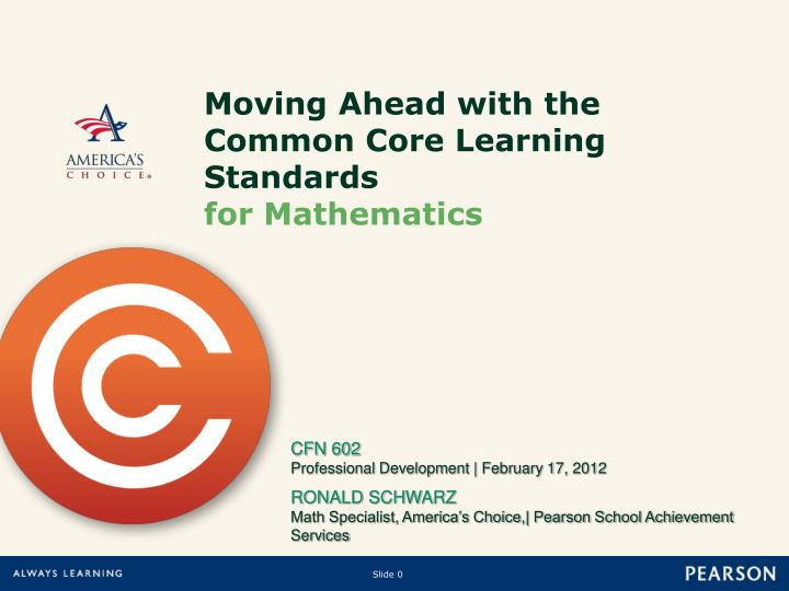 moving ahead with the common core learning standards for mathematics n.