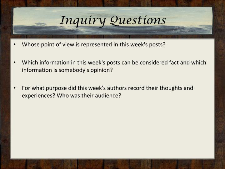 Inquiry Questions