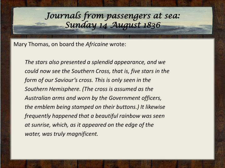 Journals from passengers at sea: