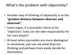 what s the problem with objectivity