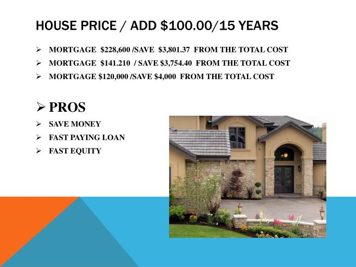 HOUSE PRICE / ADD $100.00/15 YEARS