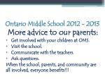 ontario middle school 2012 20133