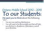 ontario middle school 2012 20134